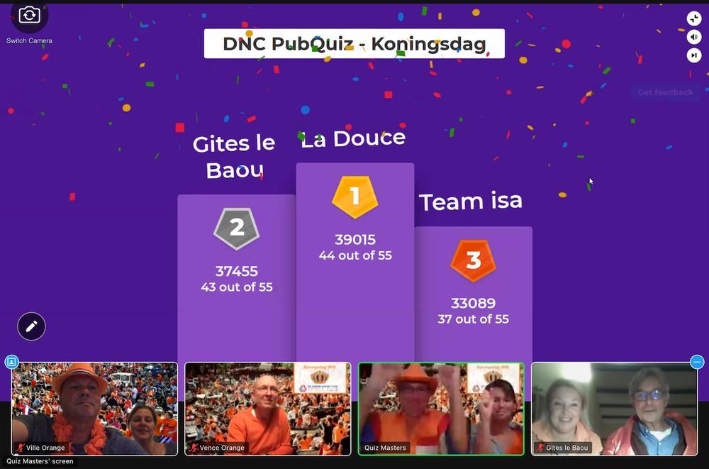 Team La Douce wint online Pubquiz Editie Koningsdag 2021