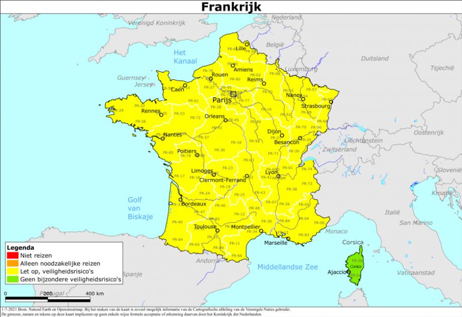 Reisadvies voor Frankrijk is aangepast